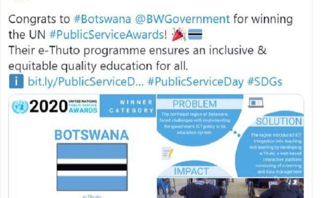 Botswana : Une initiative d'e-learning récompensée par l'ONU