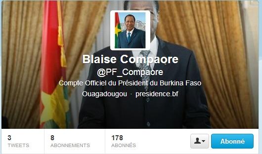 Burkina Faso: Le président de la république Blaise Compaoré sur Twitter